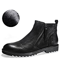 Men's Cow Leather Shoes Chukka Boots Ankle Boot Warm Lining Available