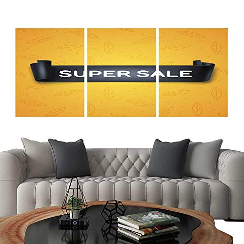 UHOO Triptych Art SetSuper Sale Inscription on Black Detailed Curved Ribbon on Leaves Background Modern Wall Art for Living Room Decoration 16