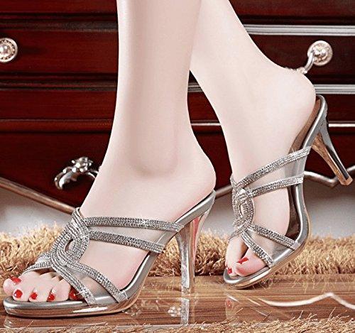 AWXJX Frauen Casual Flip Flops Fein mit High Heel Casual Frauen Atmungsaktiv Hohl Silber 5.5 US 35.5 EU 3 UK e964a6