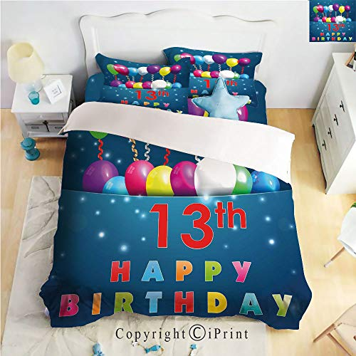 (Homenon Bed Sheet Set Twill Sanding,Joyful Surprise Event Teen Celebration Balloons Ribbons Stars,Multicolor,Queen Size,Wrinkle,Stain Resistant Hypoallergenic 4 Piece)