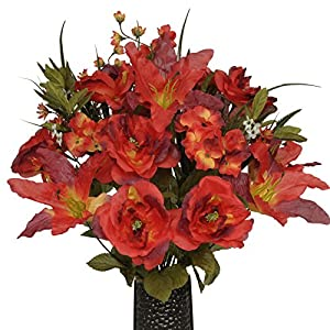 Fire Red Stargazer Lily Mix Artificial Bouquet, featuring the Stay-In-The-Vase Design(c) Flower Holder (MD1123) 46