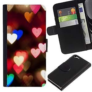 For Apple Apple iPhone 6(4.7 inches),S-type® Hearts Lights Pink Teal Night Blur Love - Dibujo PU billetera de cuero Funda Case Caso de la piel de la bolsa protectora