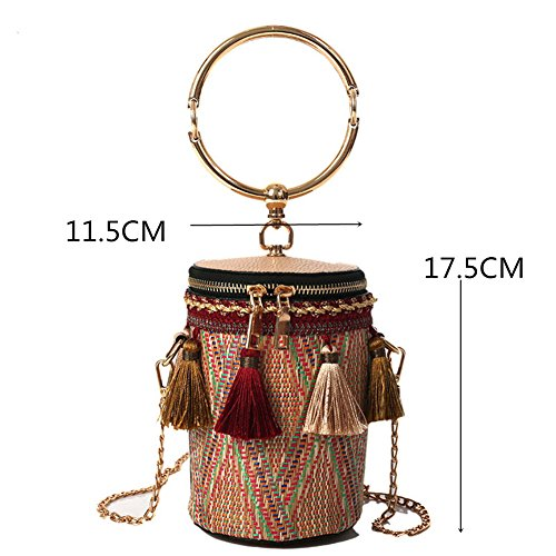 Cylindrical Wristlet Portable Chain Bag Women's Bucket Clutch Shoulder MSFS Weave Red 5aT68qwn