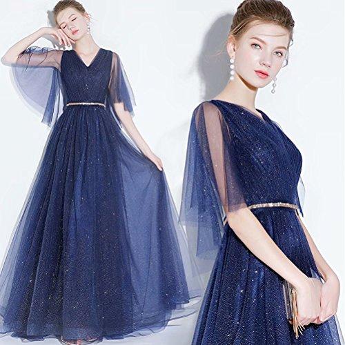 Ausschnitt Frauen Schnürung Sparkly V Blau Schwarz Abendkleid Lange qqEgOxwF