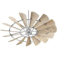 Quorum 97215-9 Windmill Ceiling Fan in Galavanized with Weathered Oak Blades