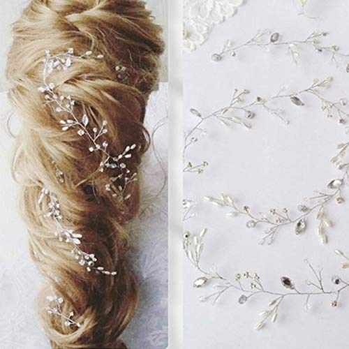 Unicra Bride Wedding Pearl Hair Vines Crystal Headpieces Wedding Hair Accessories for Women and Girls