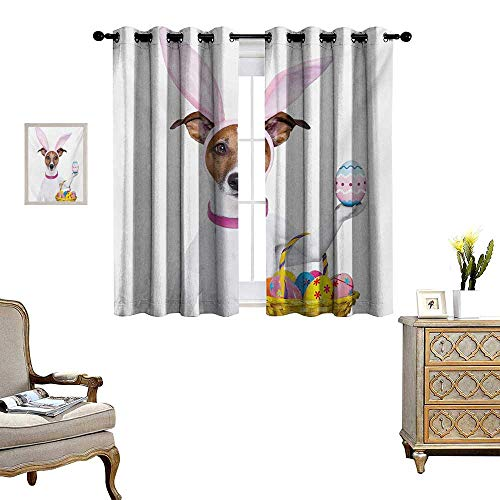 Easter Window Curtain Drape Dog Dressed up as Easter Bunny Holding a Basket of Eggs Funny Animal Illustration Decorative Curtains for Living Room W55 x L63 Multicolor -