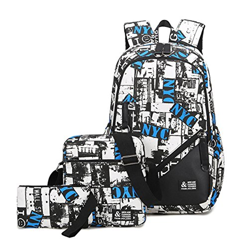 Mioy teenager school bag Canvas printing Backpack durable student bag Large Capacity 15 inch laptop daypack 3 pieces set ()