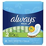 Always Maxi Pads Super Non-Wing Unscented, 22 Count- Packaging May Vary