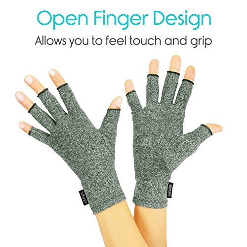 Vive Arthritis Gloves - Compression Glove for Rheumatoid, Osteoarthritis - Heat Hand Gloves for Computer Typing, Arthritic Joint Pain Relief, Carpal Tunnel - Men, Women - Open Finger Thumb (Medium) by VIVE (Image #2)