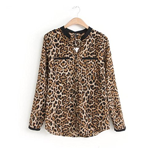 Reaso Nouveau Femmes imprimé léopard à manches longues en mousseline de soie