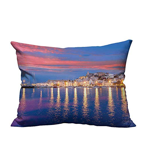 alsohome Throw Pillow Cover for Sofa Ibiza Island Night View of Eivissa Town and sea Lights Reflection Textile Crafts 12x16 inch(Double-Sided Printing) ()