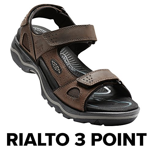 Mens Rugged Casual Sandal (KEEN Men's Rialto 3 Point Sandal, Dark Earth/Black, 10 M US)