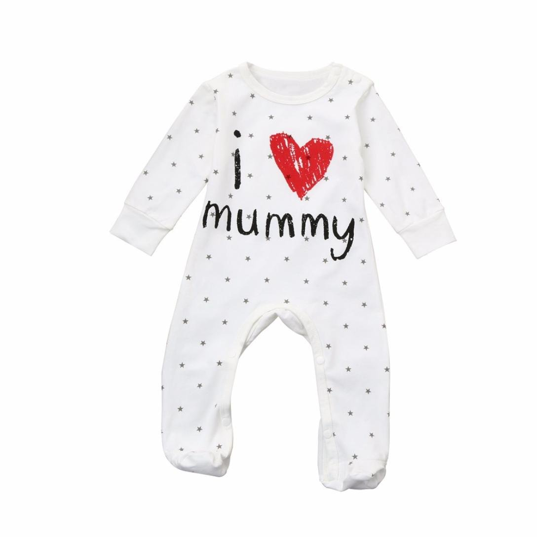 CHshe Winter 0-18 Months Newborn Baby Toddler Star Rompers, I Love Mummy Boys Girls Buckle Print Infant Cotton Blend Jumpsuit