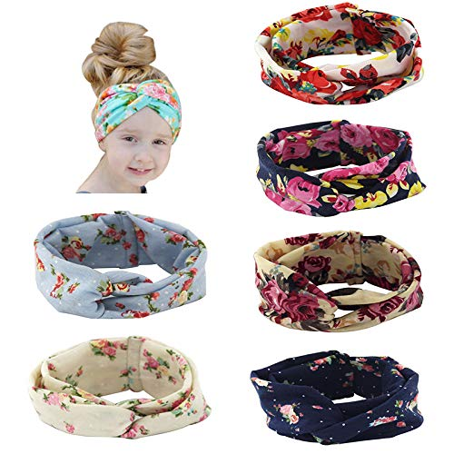 Carede Cute Baby Knotted Floral Printed bow Headbands Turban, Girl's Crisss Cross cotton Hairbands for Newborn,Toddler and Childrens