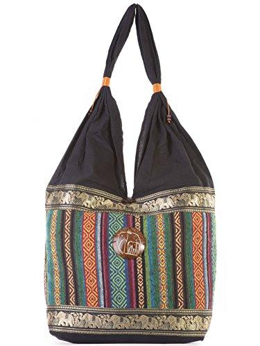 Forgotten Tribes® Thai Elephant Ethnic Shoulder Bag - Tribal Ladies Tote Shopper Cross Body Sling Cotton Handbag
