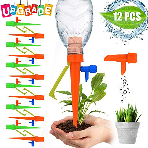 EROCK 12Pcs Plant Self Watering Spike Adjustable Automatic Drip Irrigation System Vacation Plant Waterer Self Drip Irrigation with Slow Release