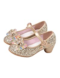 Raylans Girls Glitter Sandals Mary Jane Shoes Glitter Low Heels Princess Cosplay Dress Shoes