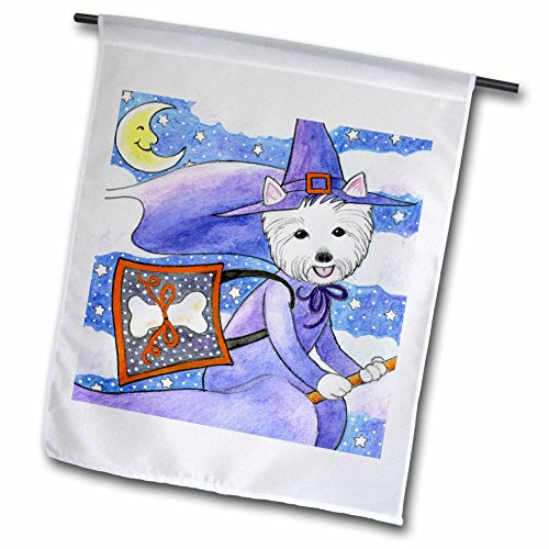 [3dRose fl_23301_1 West Highland Terrier Westie in Costume Witch Halloween Westie Dog Garden Flag, 12 by 18-Inch] (Westies In Costumes)