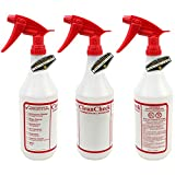 Mighty Gadget R 3 Pack of 32 oz Premium Quality Empty Chemical Resistant Spray Bottle with No Clogs, Leak Proof Sprayers 40% More Spray Power (Red Sprayers)
