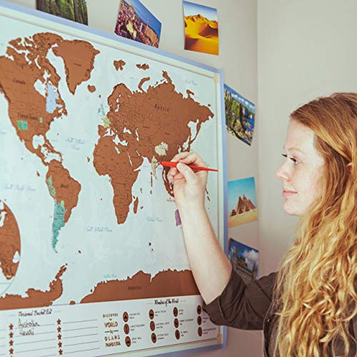 XL Scratch Off Map of The World – Bucket List Features | Wonders of The World | Detailed US States & International Cities | Excellent Wanderlust Themed Travel Gift by Olahs Pandora Photo #5
