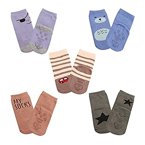 Toddler Anti-Slip Socks With Rubber Soles Ankle Walker For Baby Boy Girls 5 Pack(thin-S)
