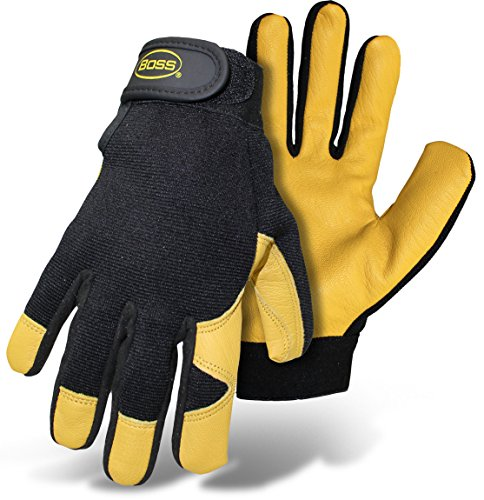 Boss Gloves #4048L Premium Goatskin Boss Guard Gloves, Size Large, Color Black and Gold.