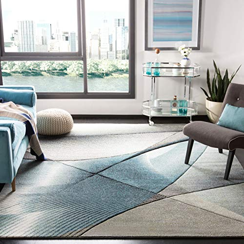 Safavieh Hollywood Collection HLW715D Grey and Teal Mid-Century Modern Abstract Area Rug 5 3 x 7 6
