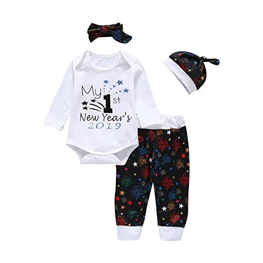 "588b79fe3 Oldeagle Newborn Baby Girl Boy My 1st New Year 2019"" Letter Print Romper  Tops+"
