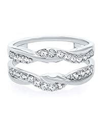 1/2ct Round Cut Simulated Diamonds Ring Guard Wrap White Gold Plated Sterling Silver Solitaire Enhancer 0.50ct