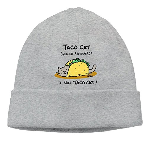 Black Vinyl Newsboy Hat (HG&&GH Tacocat Spelled Backwards Is Tacocat Sports Unisex Beanie Skull Cap Great Thermal Beanie Cap For Men Women)