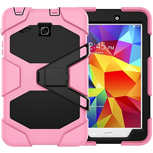Galaxy Tab E 8.0 Case, Beimu 3 in 1 Hard PC+Silicone Hybrid Kickstand Feature Heavy Duty Shockproof Impact Resistant Rugged Armor Defender Protection Case with Screen Protector