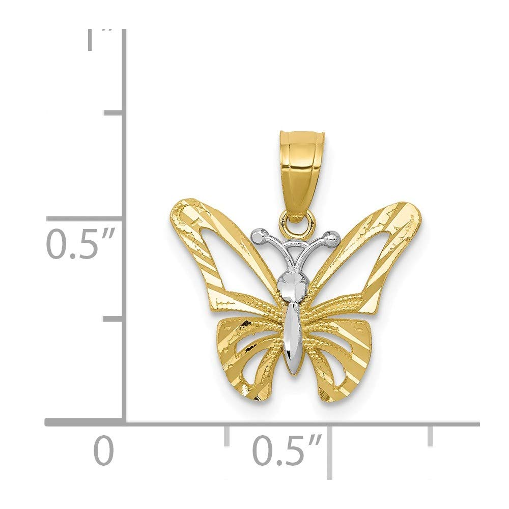 Jewel Tie 10K Rhodium Plated Yellow Gold Butterfly Pendant 0.79 in x 0.63 in