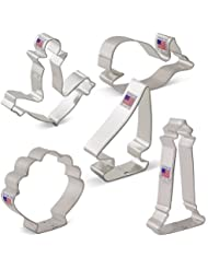 Nautical Cookie Cutter Set - 5 piece - Anchor, Sailboat, Lighthouse, Seashell, Whale - Ann Clark - US Tin Plated Steel