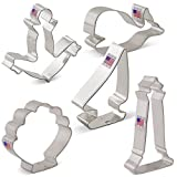 Nautical Cookie Cutter Set - 5 piece - Anchor, Sailboat, Lighthouse, Seashell, Whale - Ann Clark - US Tin Plated Steel