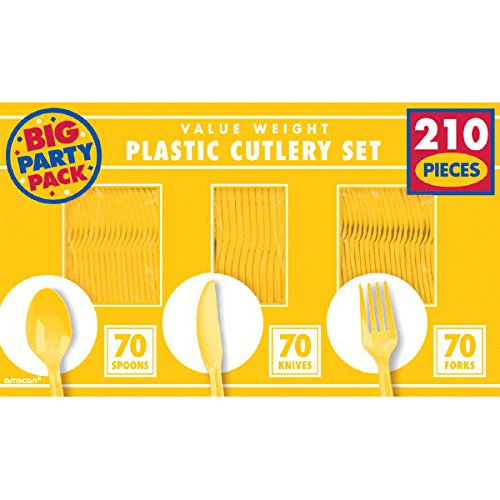 Amscan Reusable Big Value Window Box Cutlery Set Yellow Plastic 6'' x 11'' Pack 210 Party Supplies , 1680 Pieces