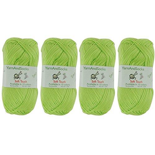 BambooMN Brand Soft Touch Yarns - Solids 4x 50g Regular Balls - Acrylic - Lemon Lime (Yarn Green Eyelash Lime)