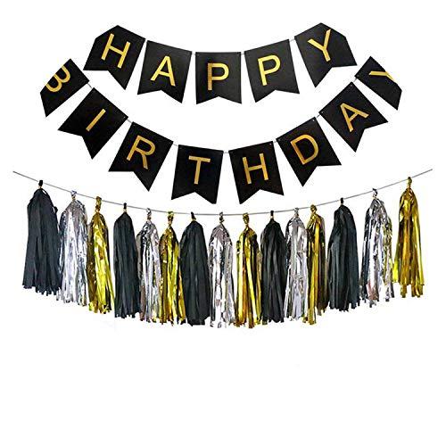 Noon-Sunshine decorative-plaques Happy Birthday Banner Tissue Paper Tassel Bunting Garland Pom Pomsation,Style 11 ()