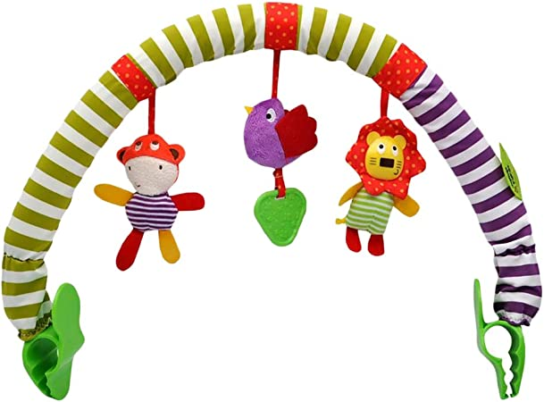 SAMTITY Stroller Toy Activity Arch with Rattle Toys Universal Attachment Clips Fit any Pram Pushchair or Baby Car Seat Days Activity Cloth Animal Toy Pram Activity Bar with Rattle//Squeak