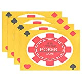 Jojogood Poker Chip Placemat Dining Table Mat 12''x18'' Polyester Heat Resistant Non-Slip Place Mat Set of 4