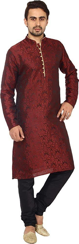 Royal Kurta Men's Designer Jacquard Occasional Art Silk Kurta Churidar Set KELA-SILK-MAROON-38X-$P