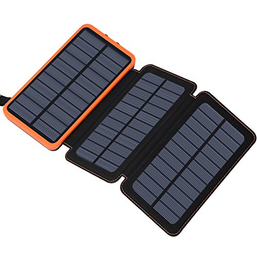 Solar Charger 24000mAh, FEELLE Solar Power Bank with 2 USB Ports Waterproof Portable External Battery Compatible with Smartphones, Tablets and More (Best Type Of Solar Cells)