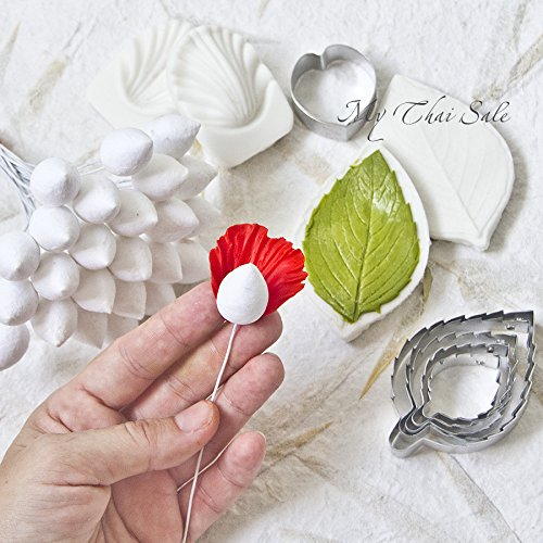 Set of Cutters, Petal and Leaf veiners, 25 pcs Flower Bulbs Rose Making for gumpaste,Cake Decorating, Chocolate, sugarcraft, Cake Decor,Clay by My Thai Flowers