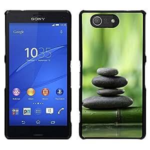 EJOY---Cubierta de la caja de protección para la piel dura ** Sony Xperia Z3 Compact ** --Bosque de bambú verde Piedras Planta Naturaleza