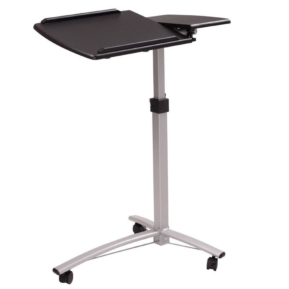 Laptop Rolling Desk Adjustable Tilt Stand Portable Caster Cart Bed Side