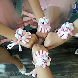 Inteeon Artificial Flowers Brides Bridesmaid Wrist Christmas Mariage Rose Wrist Corsages Hand Silk Lace 116