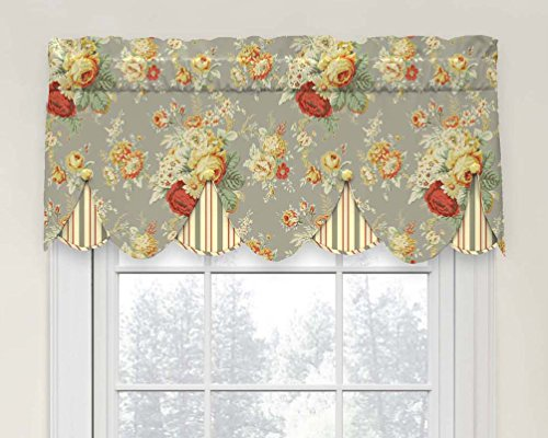 Waverly 15400052018CLY Sanctuary Rose Peek-A-Boo Window Valance,Clay,52x18