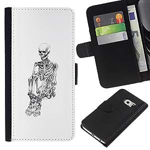 Ihec-Tech / Negro Flip PU Cuero Cover Case para Samsung Galaxy S6 EDGE - Blanco Cráneo Esqueleto Deprimido Negro