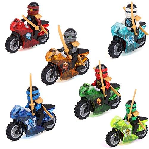[gonggamtop Ninja Ninjago 6 Minifigures Cole Lloyd Kai Nya MOTORCYCLE Building Brick] (Costume Catwoman Vinyl)