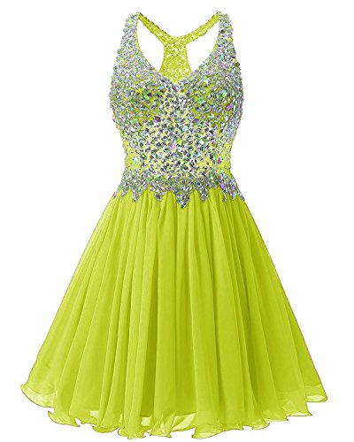 Fanciest Women's Beaded 2017 Prom Dresses Short Bridesmaid Homecoming Dress Lime Green US26W